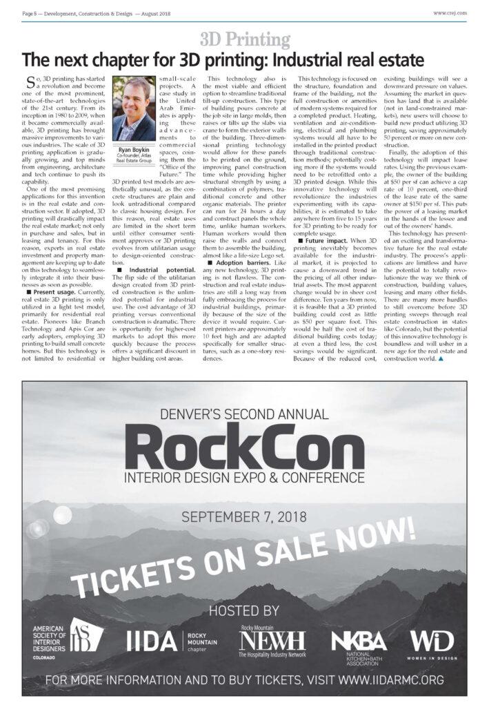 Ryan Boykin 3D Printing Colorado Real Estate Journal